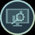 Icon mit Monitor und Lupe, die Statistiken analysiert