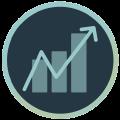 Icon mit Statistiken plus zackiger Pfeil von links unten nach rechts oben