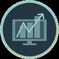 Icon mit Monitor, der Statistiken abbildet plus zackiger Pfeil von links unten nach rechts oben