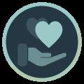 Icon mit Hand und Herzen