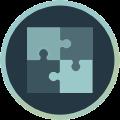 Icon mit Puzzelteilen, die ineinandergreifen