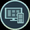 Icon mit Monitor und Smartphone
