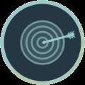 Icon mit Zielscheibe und Pfeil