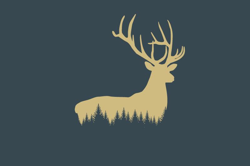 Grafik mit goldenem Hirsch und Wald, Hintergrund dunkelblau