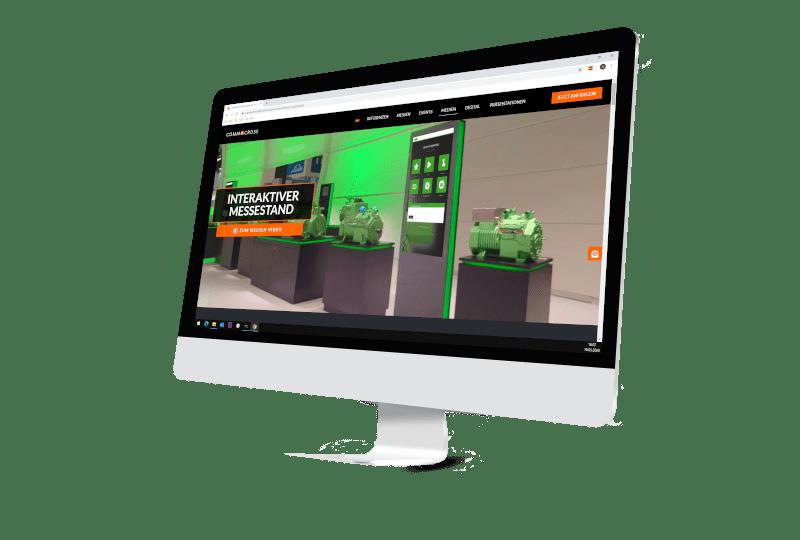 Bildschirm mit Webseite Firma Commacross