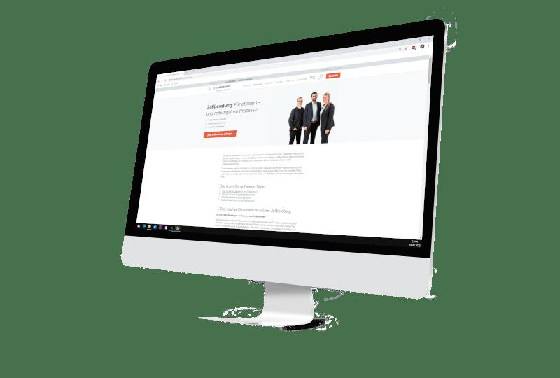 Bildschirm mit Webseite Firma Finesolutions