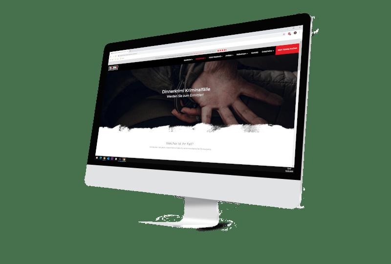 Bildschirm mit Webseite Firma Stadt Krimi
