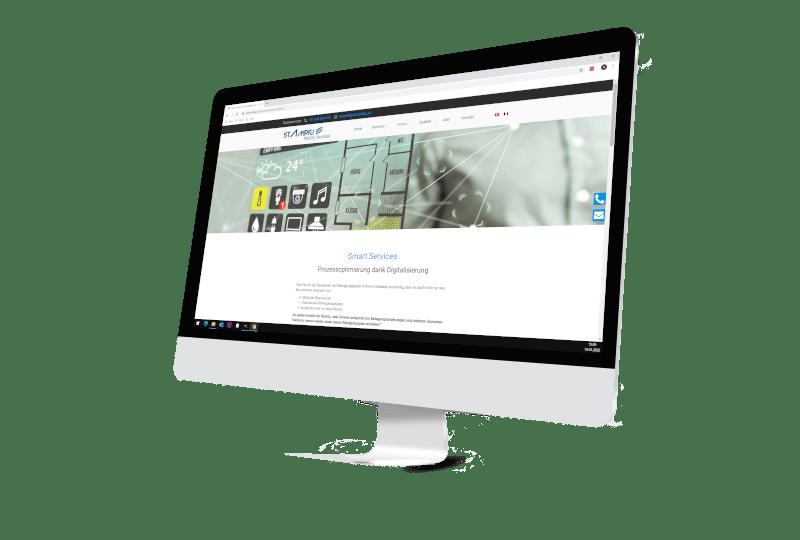 Bildschirm mit Webseite Firma Stampfli