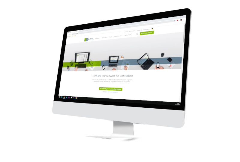 Bildschirm mit Webseite Firma Vertec