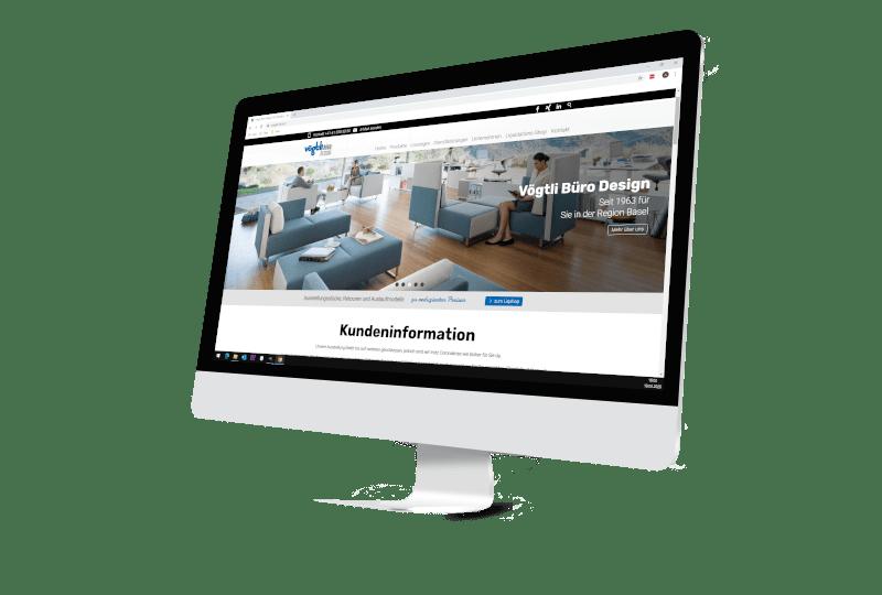 Bildschirm mit Webseite Firma Vögtli