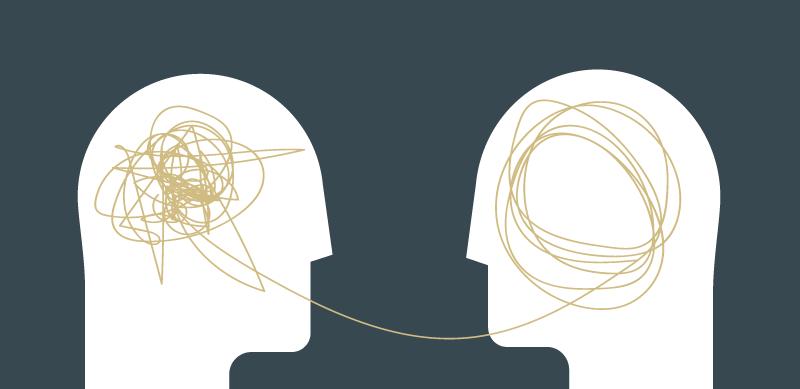 Grafik von zwei Personen die miteinander kommunizieren