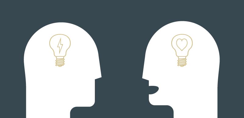 Grafik mit zwei Personen, die Ideen austauschen