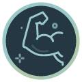 Icon mit muskulösem Arm