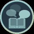 Icon mit Abbildung eines Buchs mit Sprechblasen